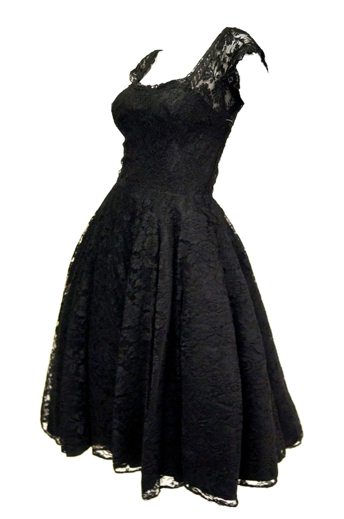 1950s Black Floral French Lace Scoop Back Cocktail Dress