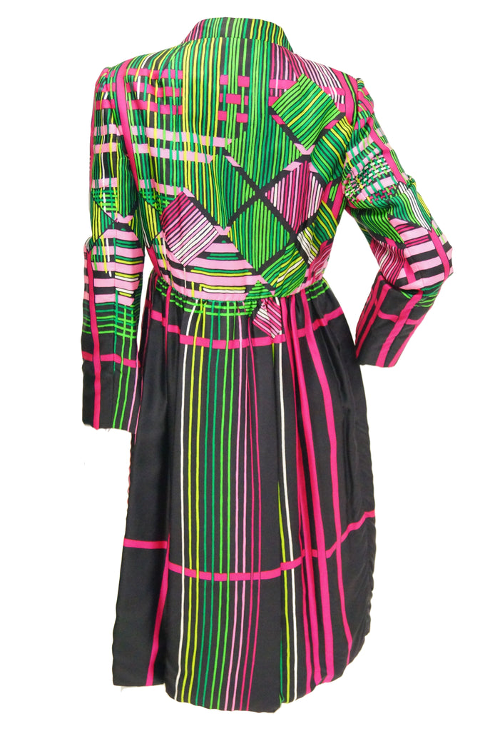 "1960s Ronald Amey Geometric ""Glitch"" Check Silk Coat"