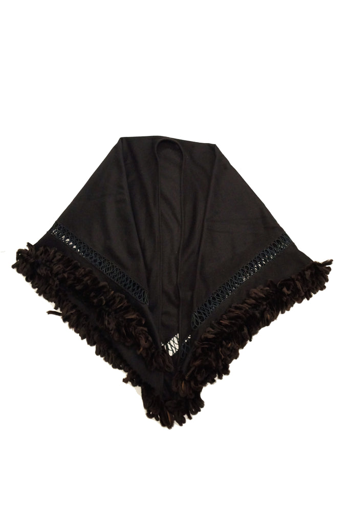 Adrienne Landau Black Wool and Fox Fur Shawl