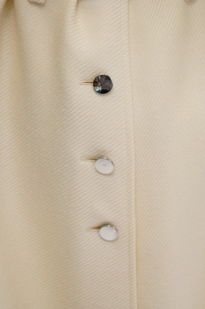 1960s Courreges Hyperbole Cream Wool Coat with Accent Zippers and Buttons