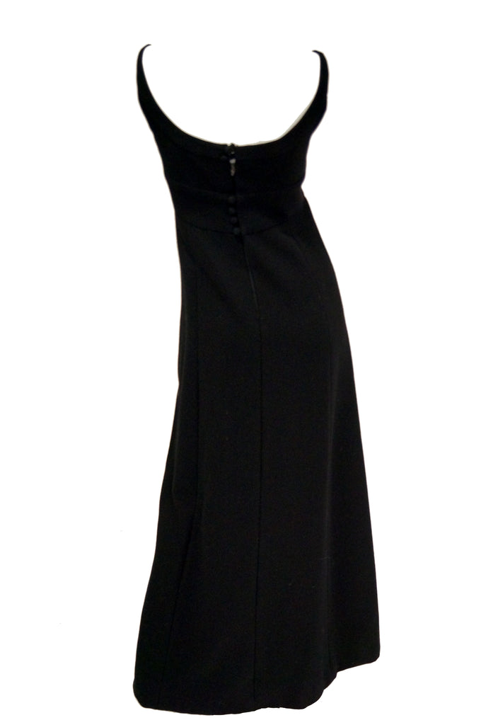 1960s Donald Brooks Black Wool Evening Dress