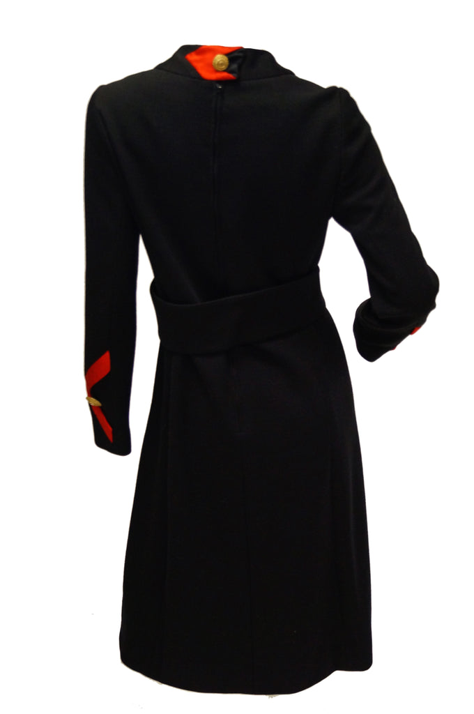 1960s Joseph Stein by Muriel Reade Wool Black and Red Arrow Accent Mod Dress