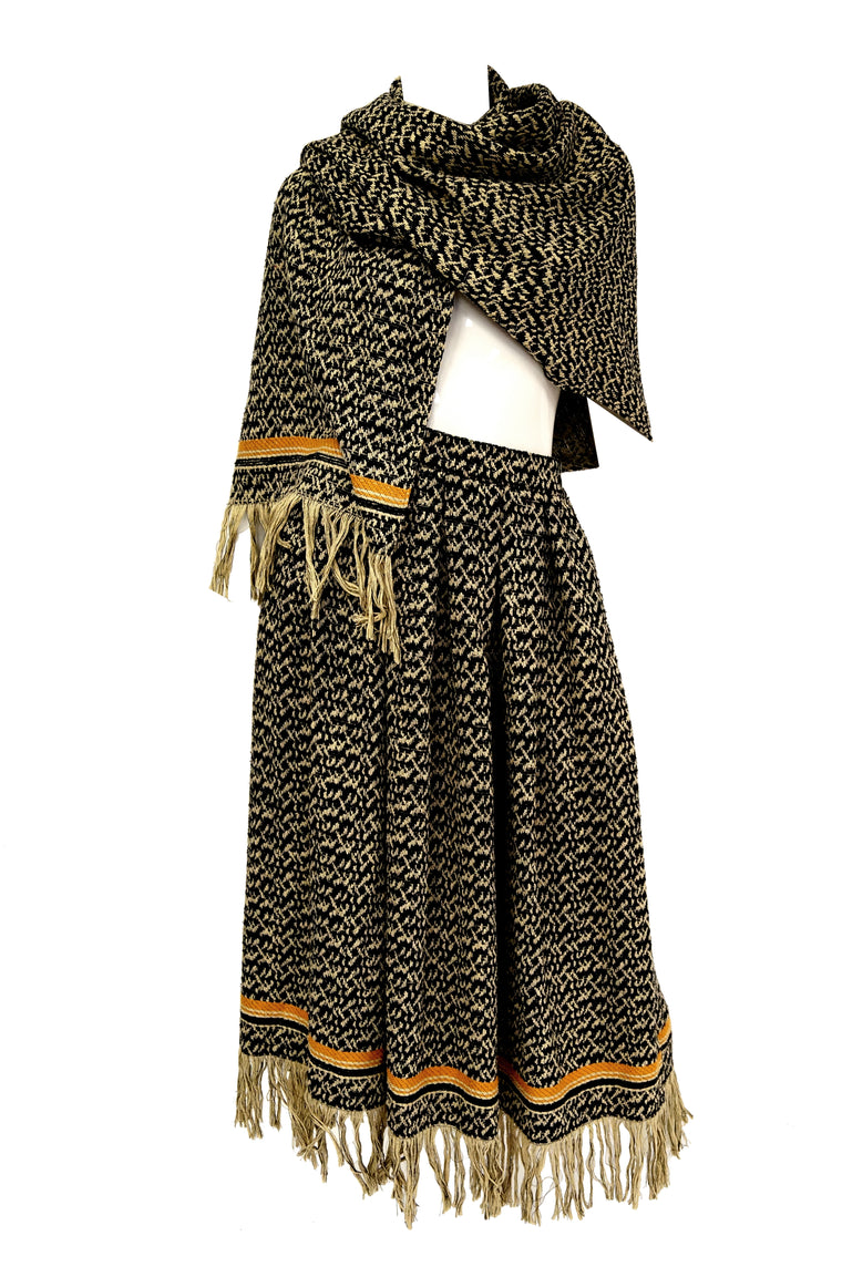 1970s Anne Klein Black and Beige Wool Fringe Skirt and Shawl