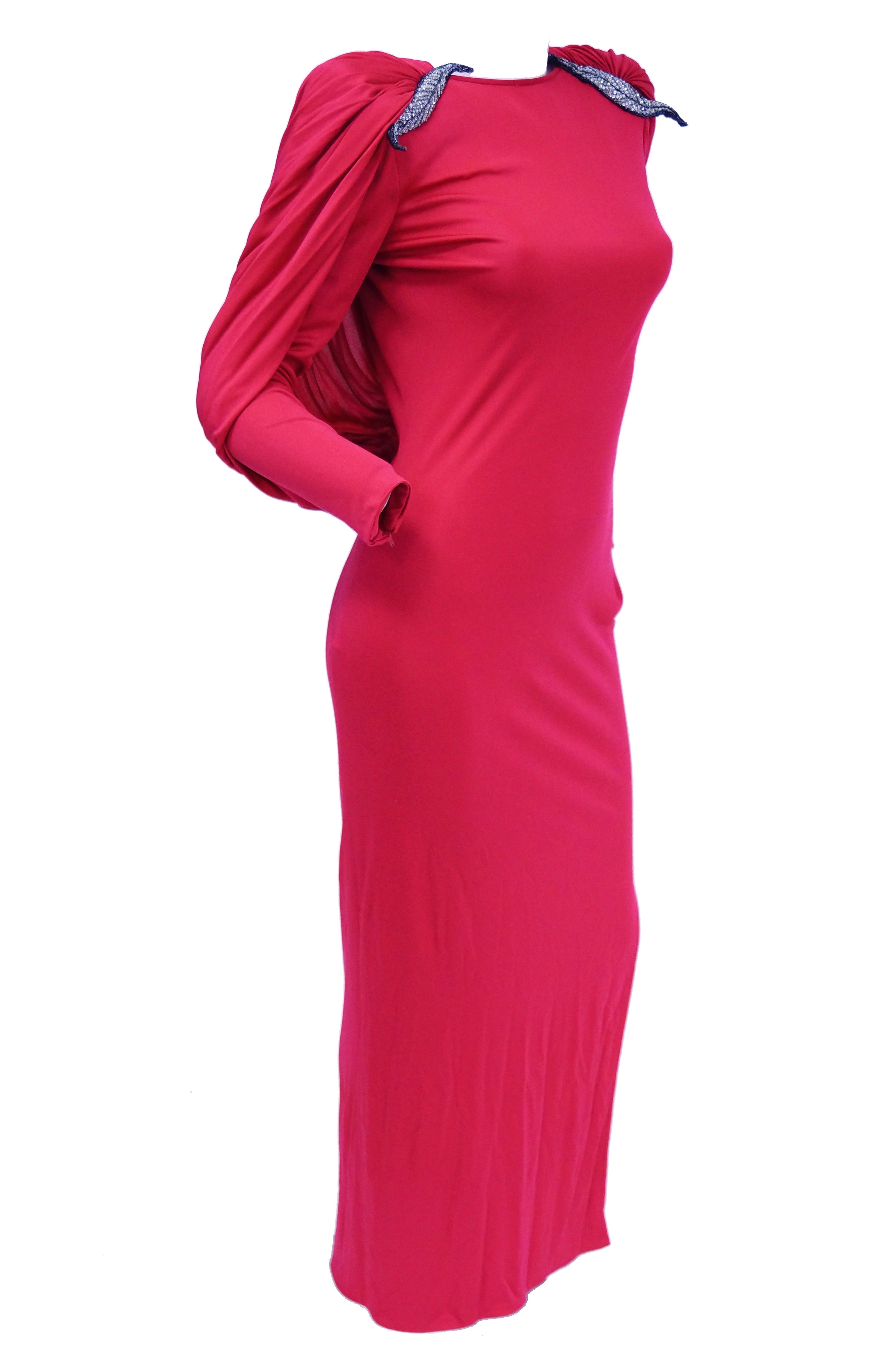 1984 Valentino Pink Silk Plunge Back Evening Dress w/ Cape and ...