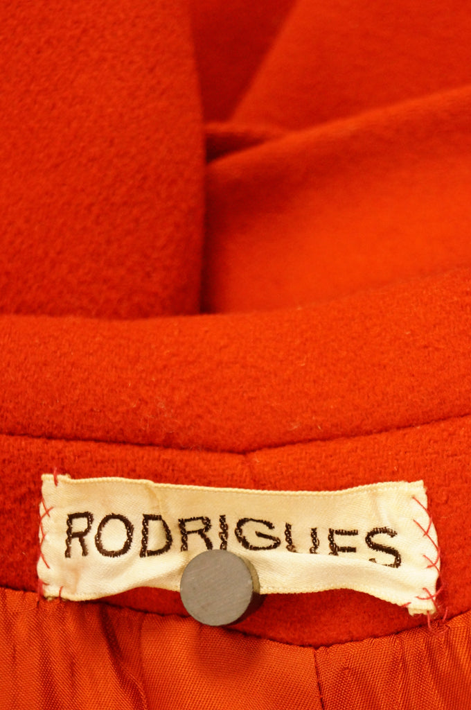 1960s Rodrigues Poppy Red Wool Mod Coat