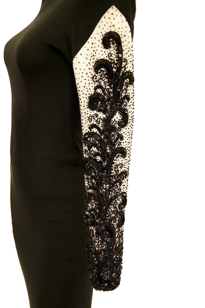 1980s Bill Blass Couture Black and White Beaded Evening Dress