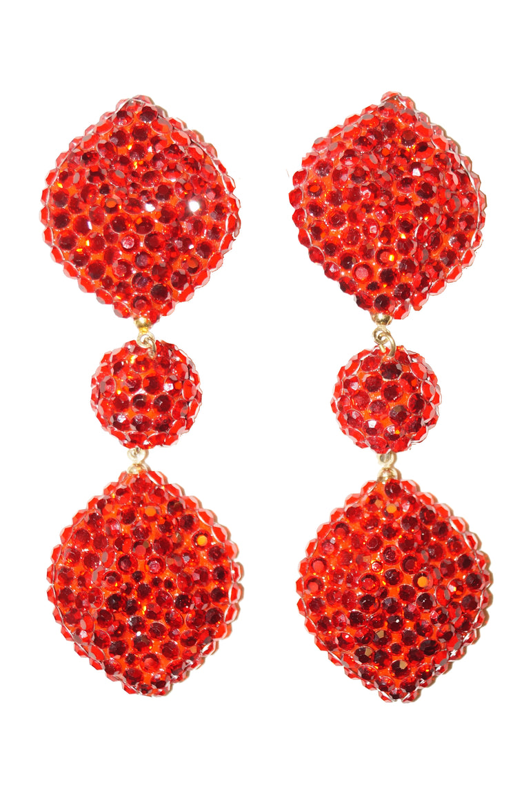 1980s Richard Kerr Scarlet Red Rhinestone Drop Earrings