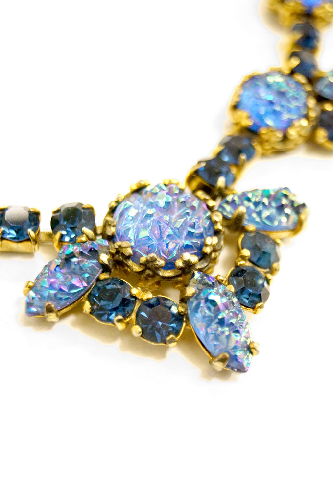 1950s Elsa Schiaparelli Iridescent Blue Art Glass & Rhinestone Necklace