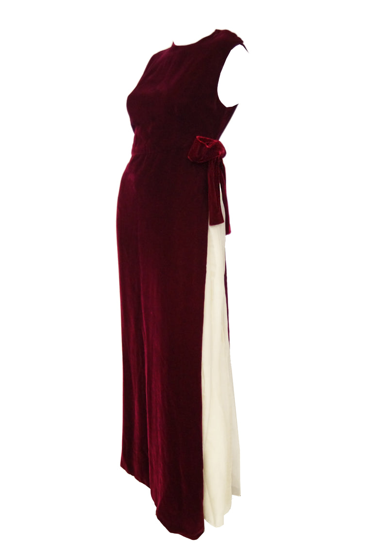 3e9419bda 1960s Sarmi Red Velvet Evening Dress w/ Sheer White Silk Skirt Accent