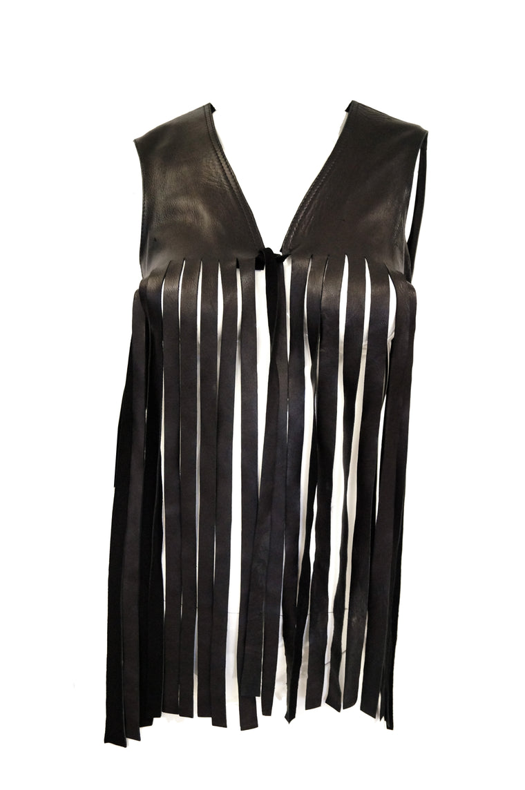 1970s French Black leather Fringe Vest Made for Neiman Marcus