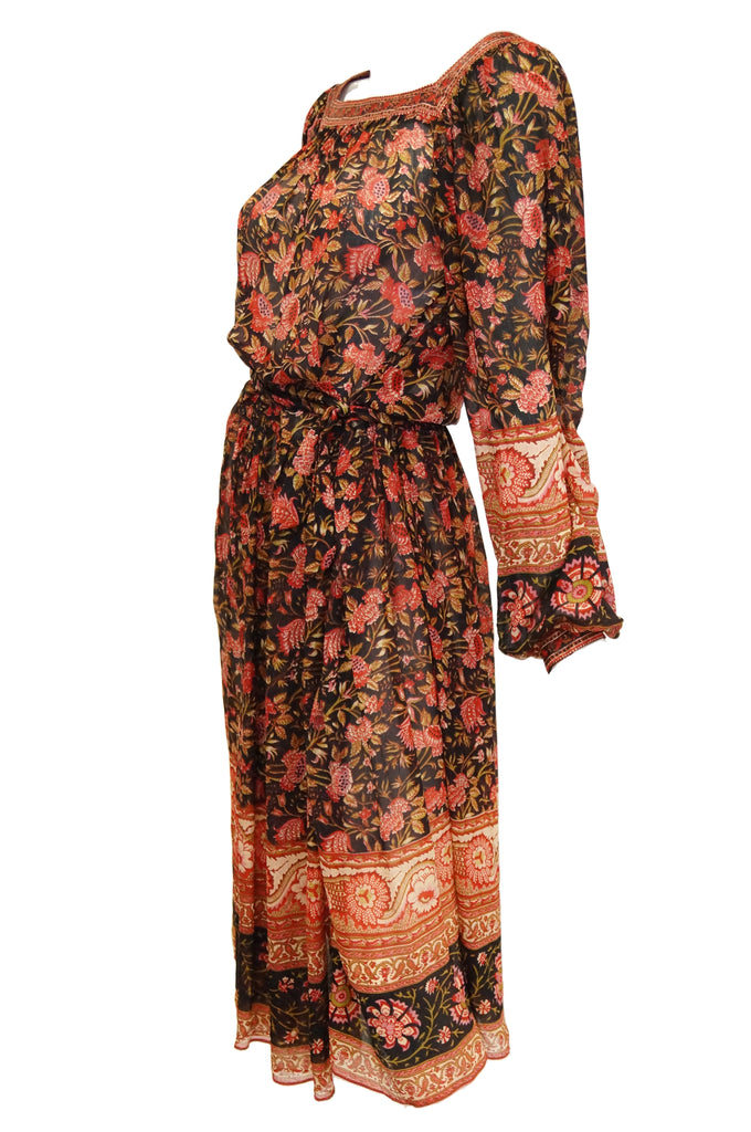 1970s Indian Red and Black Sheer Silk Hand Block Print Dress