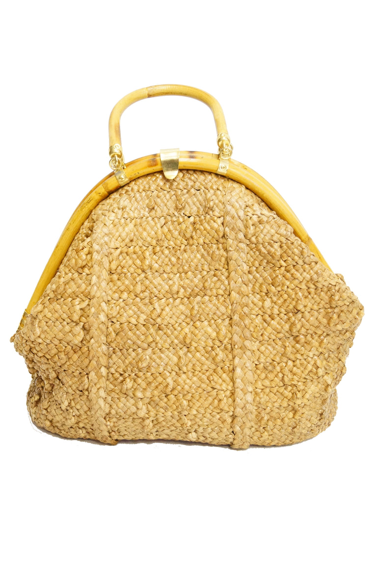 1970s Delill Bamboo Handle Woven Slouch Tote Bag made in Italy
