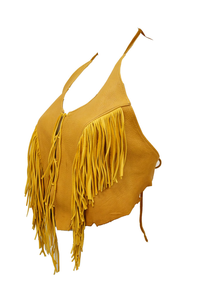 1990s Tan Leather Fringed Halter Top