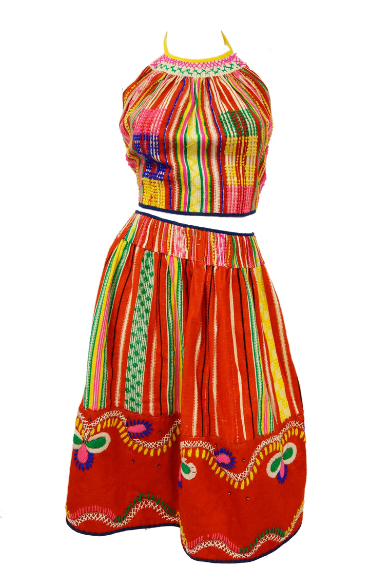 1960s Ethnic Multicolored Woven Skirt and Halter Top
