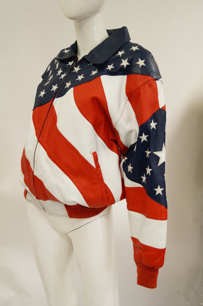 1990s Michael Hoban American Flag Leather Bomber Jacket