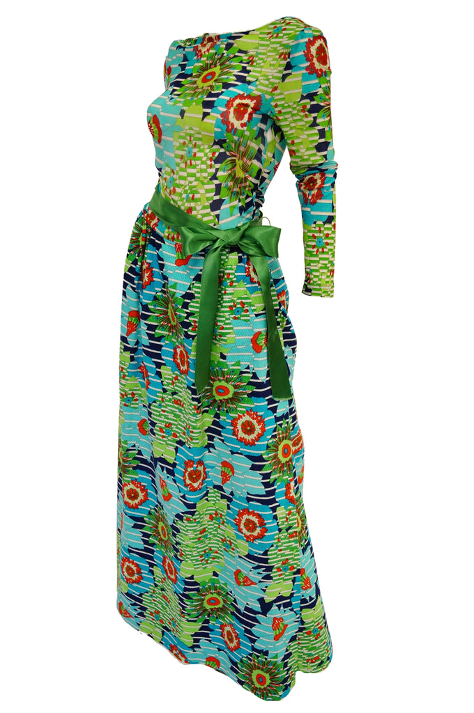 1970s Lanvin Vibrant Green and Blue Floral Dress w/ Sheer Bodice & Scoop Back