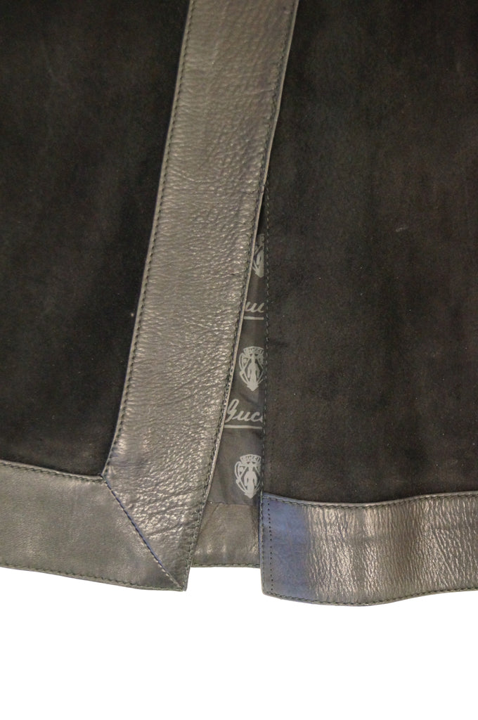 1970s Gucci Black Leather and Suede Buckle Skirt