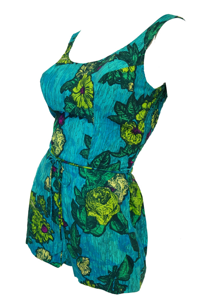 1960s Rose Marie Reid Blue Floral Swimsuit and Cover-up