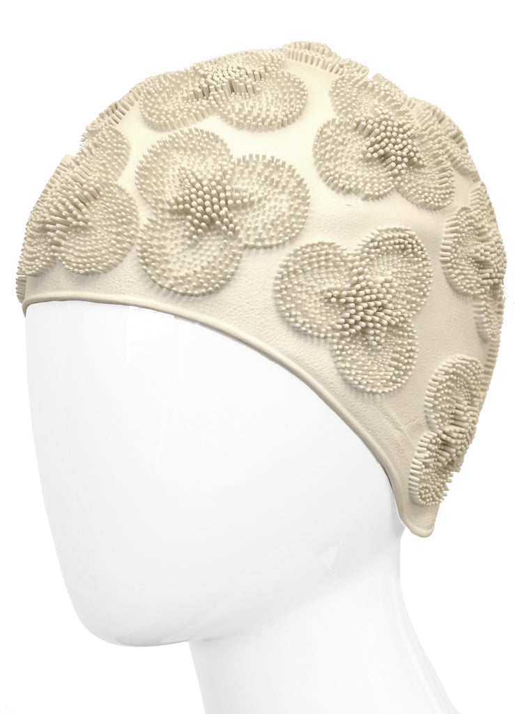 1960s Winter White 3D Flower Burst Swim Cap
