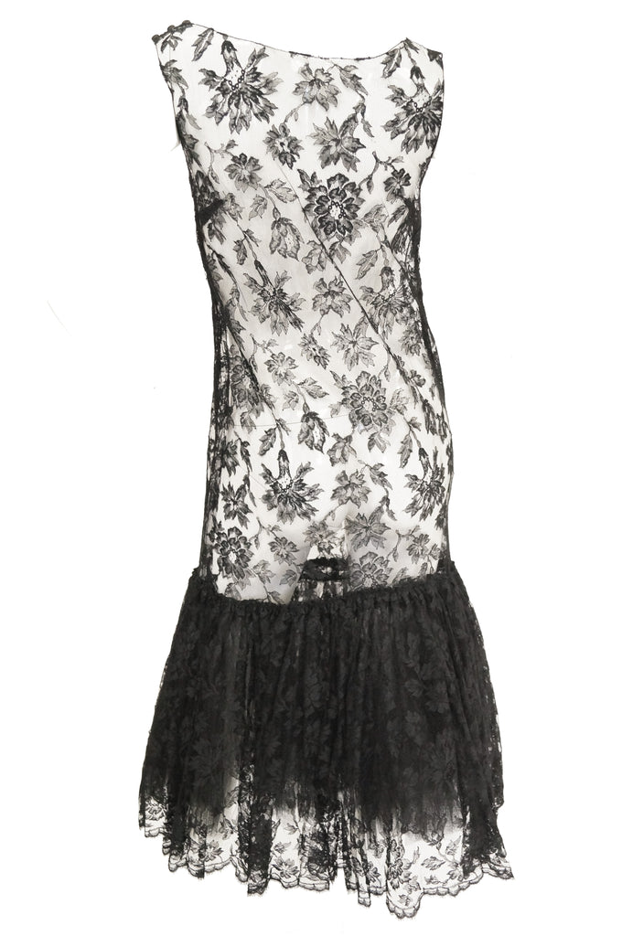 1920s Sheer Black Lace Fluted Ruffle Dress