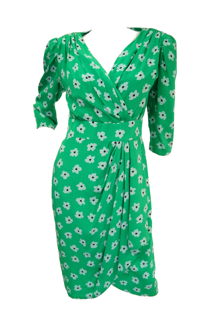 1980s Nina Ricci Green Floral Silk Dress