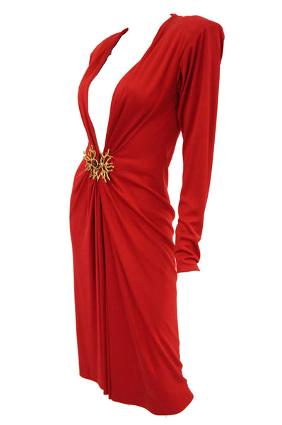 45c28fbb1d9f 1980s Yves Saint Laurent Silk Jersey Red Plunge Front Dress Sold Out