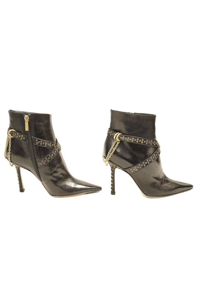 2006 Jimmy Choo Black Kid Leather Chain Boots