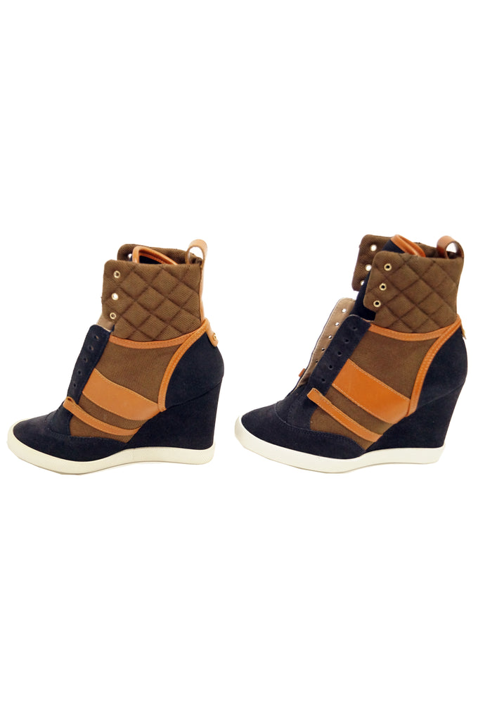Chloé Blue and Brown Suede, Leather and Canvas Wedge Sneakers