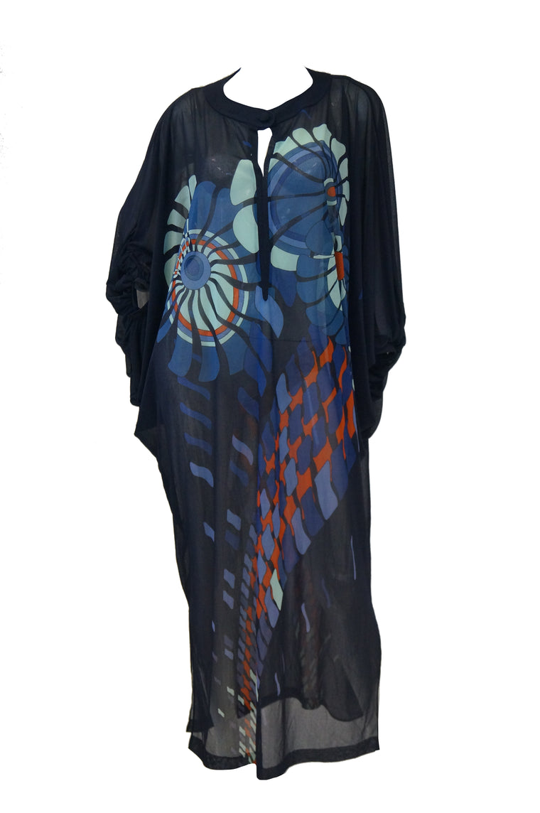 Vintage Sheer Black Batwing Caftan with Blue Op Art Floral Print