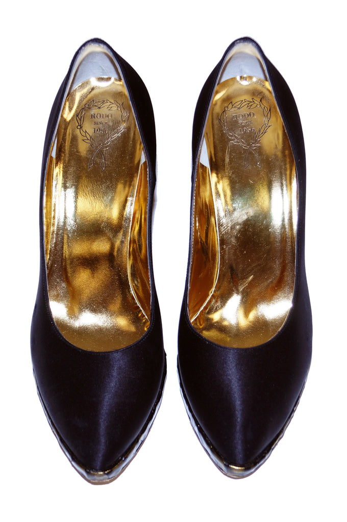 1980s Rodo Black Satin Pumps with Gold Stained Glass Style Heel