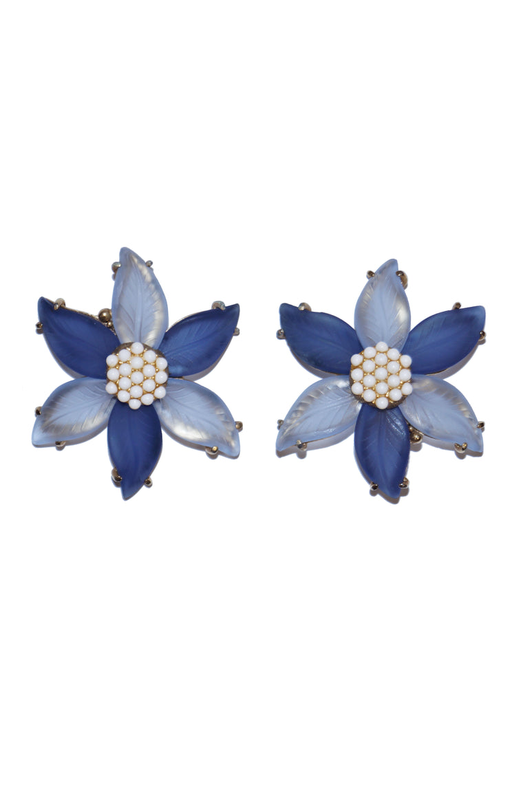 1970s Elsa Schiaparelli Blue Frosted Glass Floral Earrings