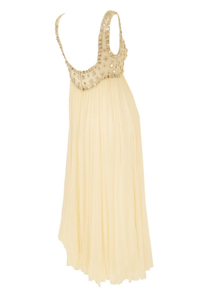 1960s Lillie Rubin Cream Dress with Neon Yellow Bow and Mirror Sequin Detail