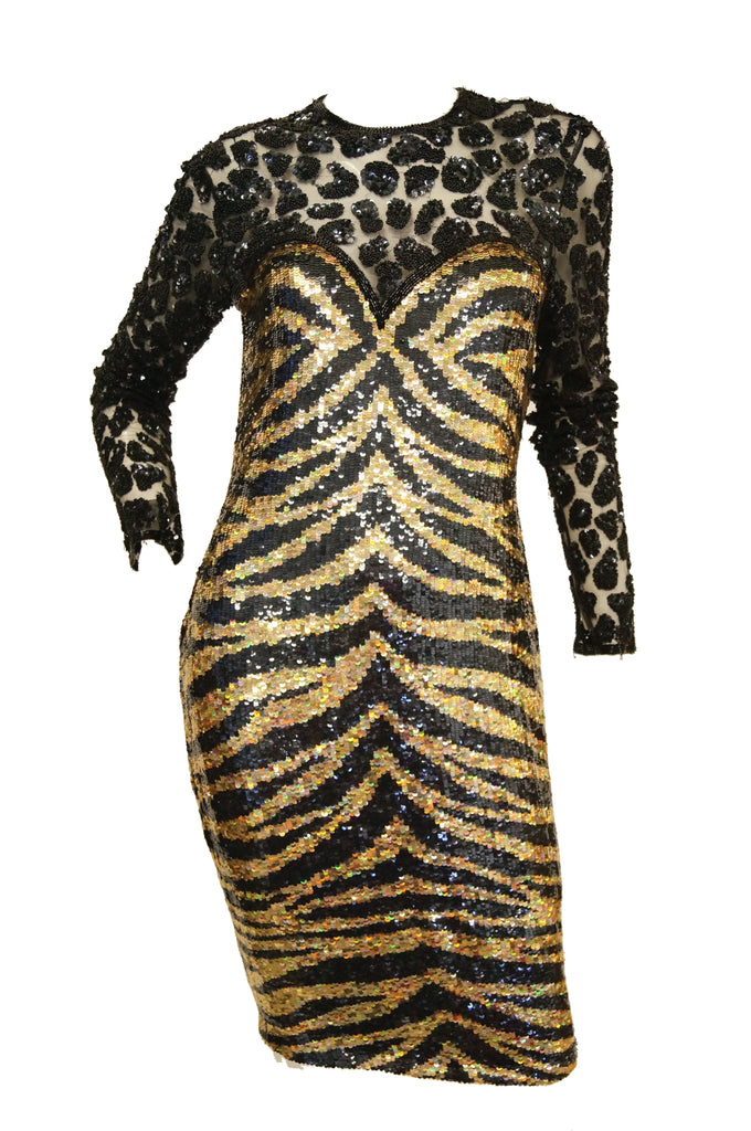 1980s Naeem Khan Black and Gold Tiger and Cheetah Sequin Silk Dress