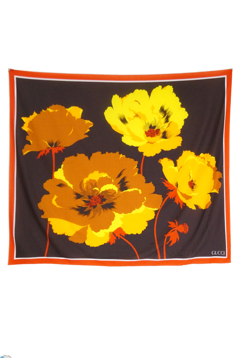 1970s Gucci Red, Orange, and Yellow Oversized Floral Scarf