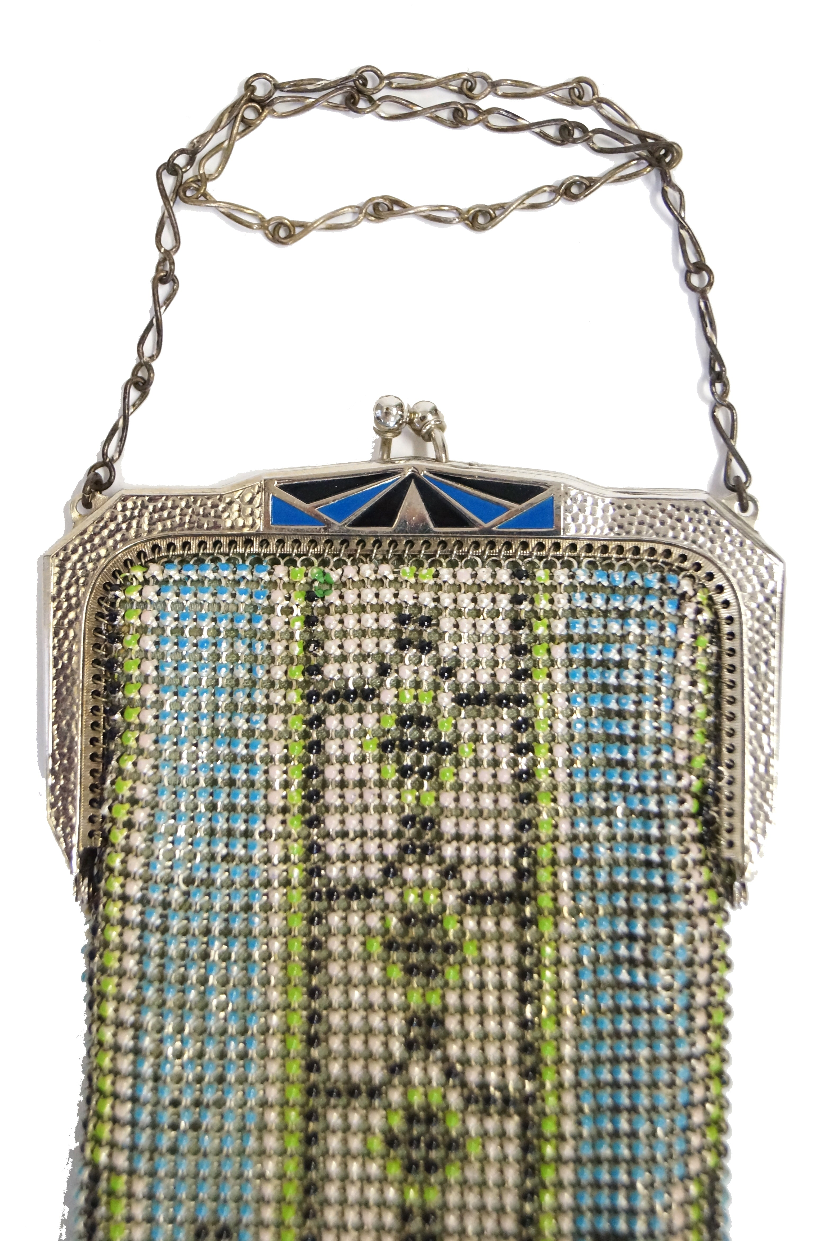 Great Art Deco Mesh Purse With Geometrics And Enamel Detail Signed Whiting Davis Periods & Styles
