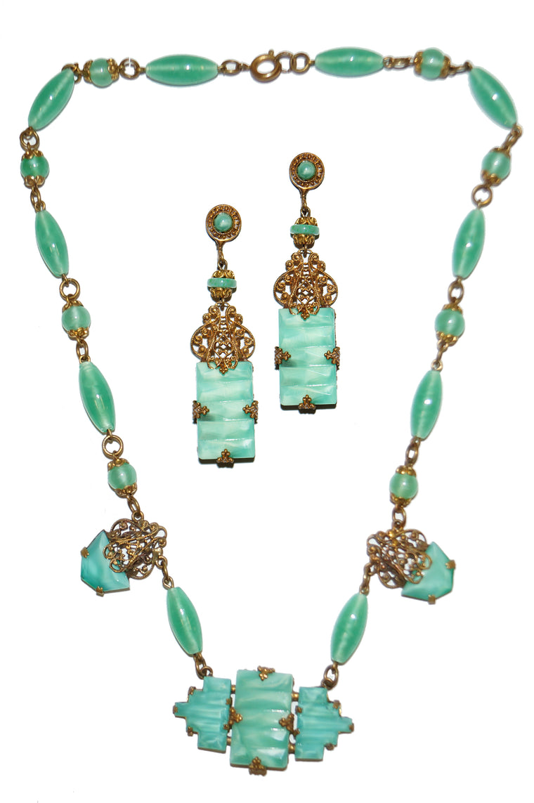 1930s Czechosolvakian Jade Glass Demi Parure with Filigree Details
