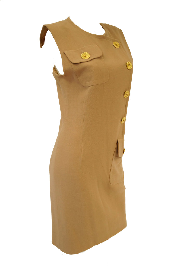 1980s Givenchy Couture Camel Wool Shift Dress w/ Gold Button and Pocket Detail