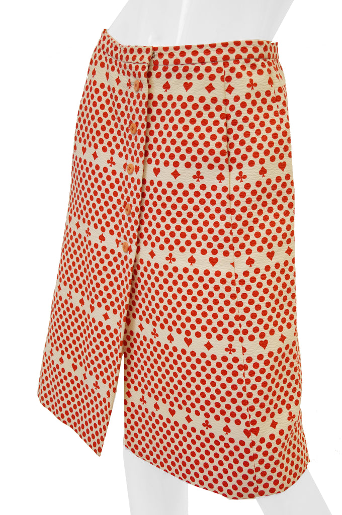 1970s Iconic Givenchy Red and White Suits of Cards Straight Button Front Skirt