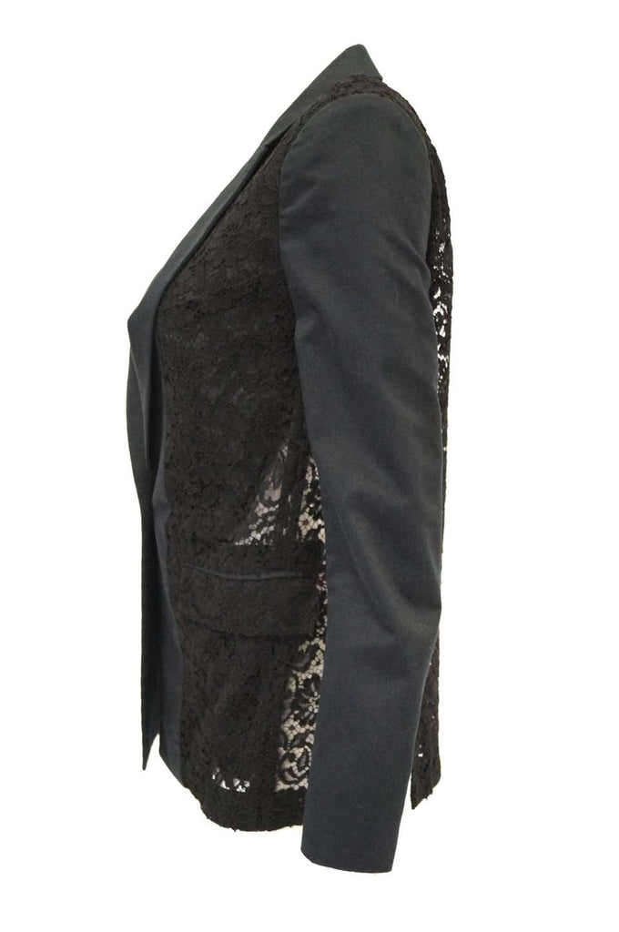 Givenchy Black Floral Lace Back Panel Blazer