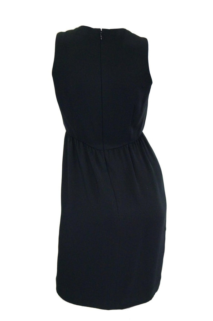 1970s Bill Blass Black Knot Front Cocktail Dress