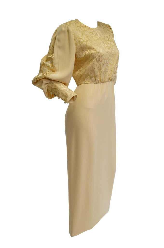1990s James Hogan Pearl Silk Dress w/ Cut Through Lace Overlay Sleeves