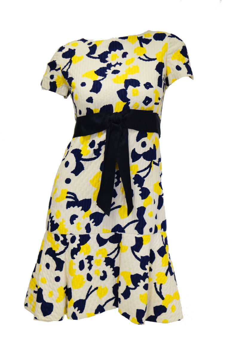 1960s Adele Simpson Blue, Yellow, and White Quilted Floral Dress
