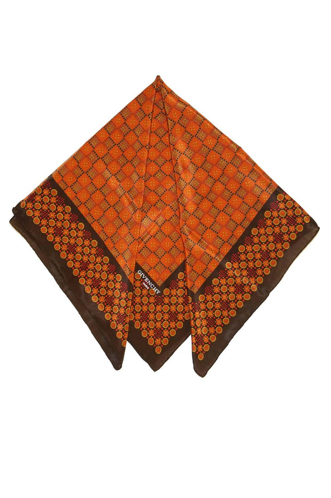 Givenchy Floral and Geometric Silk Scarf in Amber Tones, 1970s