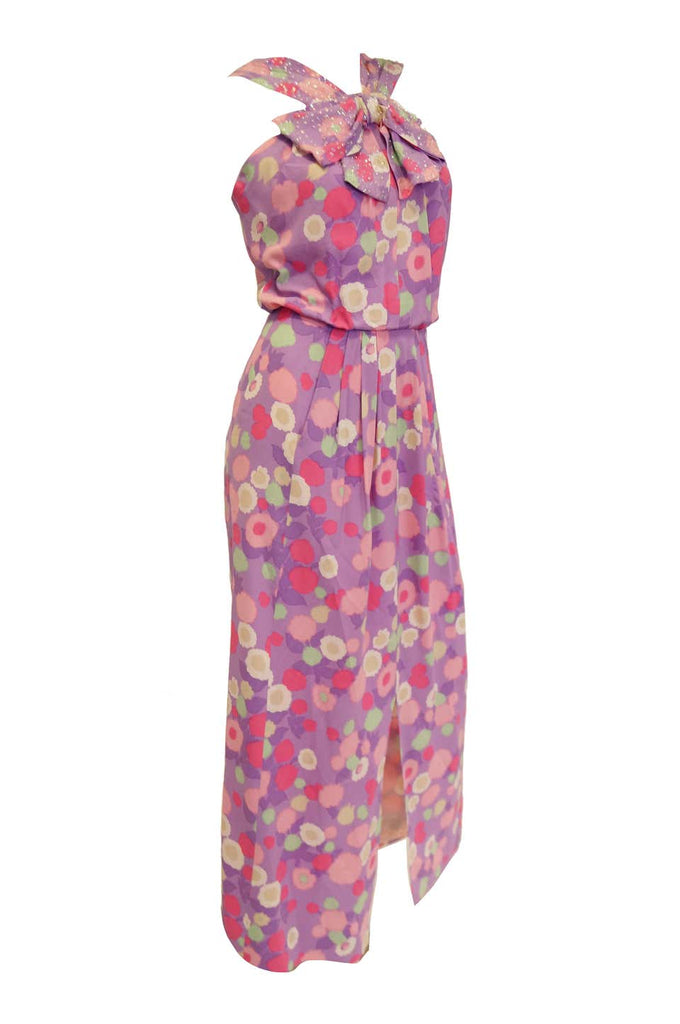 1960s Pink Floral Silk Crepe and Sequin Maxi Dress