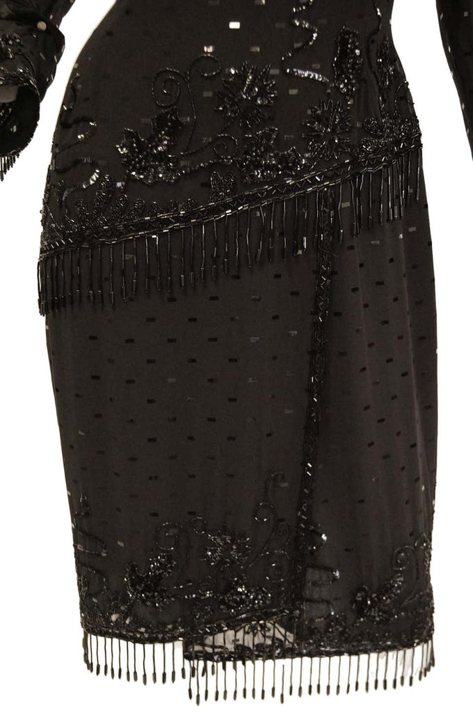 1980s Fabrice Black Silk Cocktail Dress with Floral Beading and Tassel