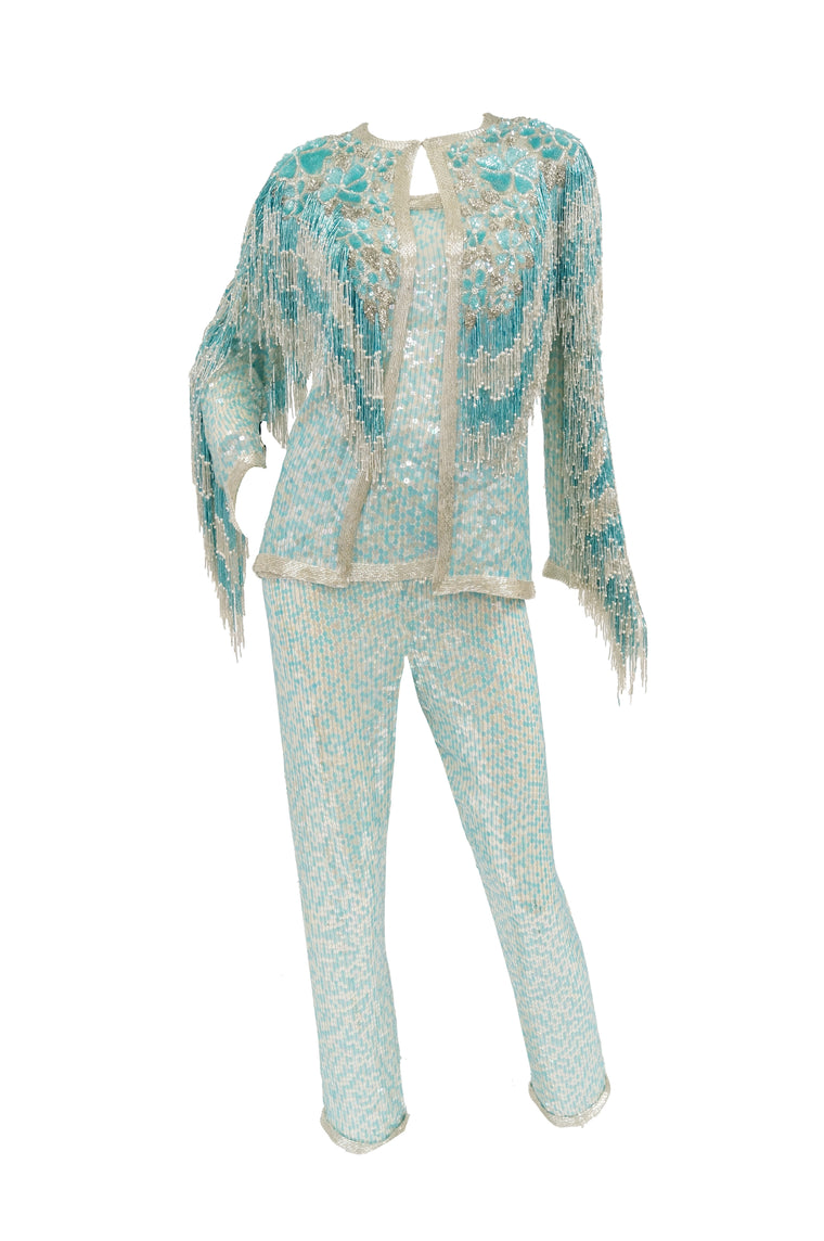 1980s Naeem Khan Silk Aqua Sequin & Beading Evening Ensemble W/ Tassel Jacket