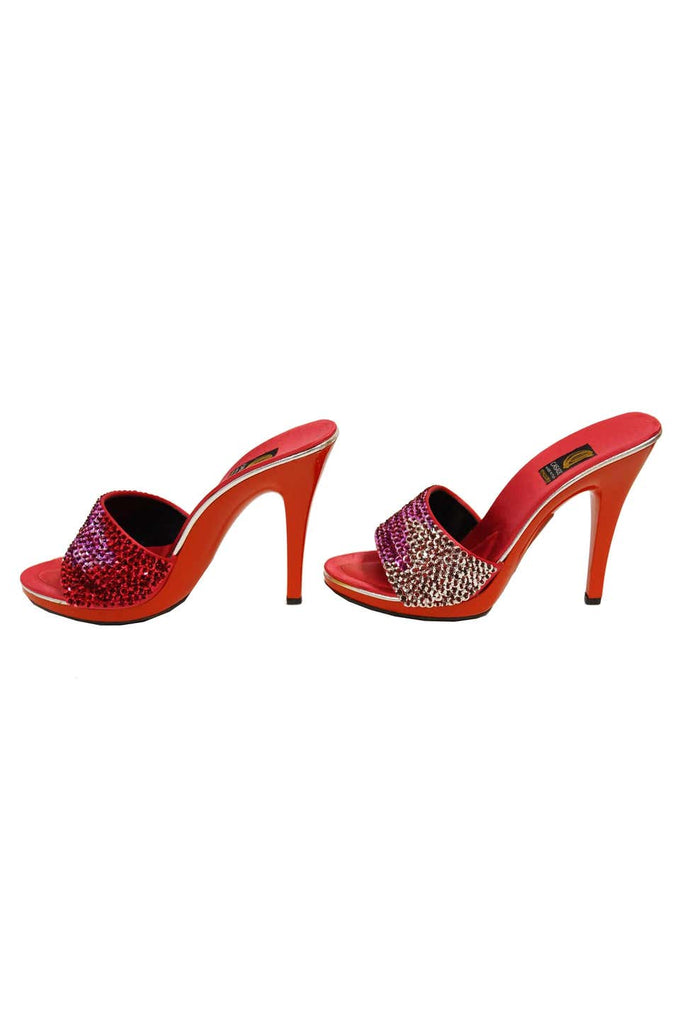 Casadei Red Satin and Sequin Sandals