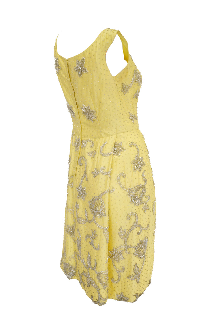 1950s Goldenrod Yellow Silk Beaded Dress and Jacket