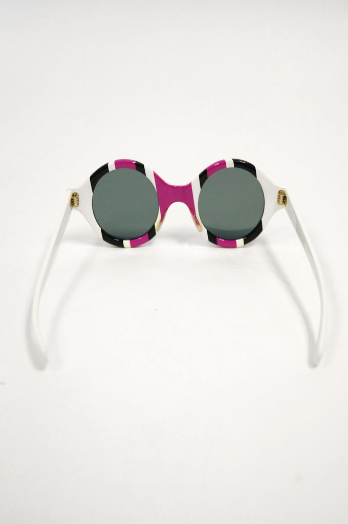 1960s American Purple Black and White Mod Sunglasses