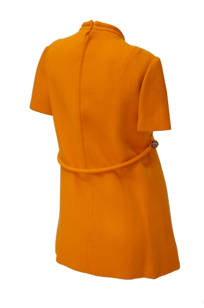 Rare 1960s Bill Blass Orange Mod Mini Dress with Nugget Belt Detail
